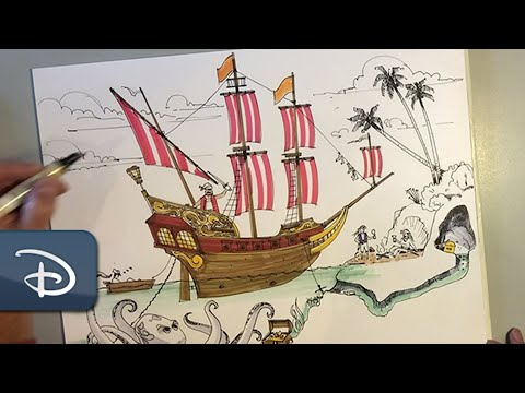 Learn to Draw a Disney-Inspired Pirate Scene   #DisneyMagicMoments