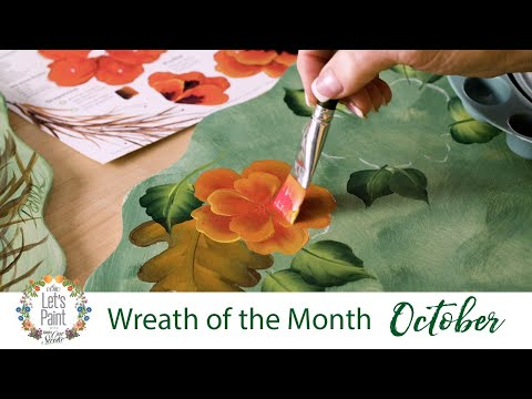 Let's Paint - Donna Dewberry Wreath of the Month - October Autumn Poppies Wreath