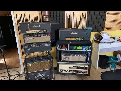 Setup in studio. Registrazione di chitarre elettriche