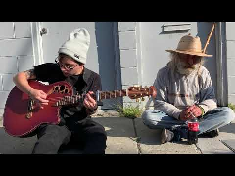 playing music on the sidewalk in sf with diamond dave