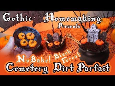 No-Bake Black Forest Cemetery Dirt Parfait - Halloween Dessert!