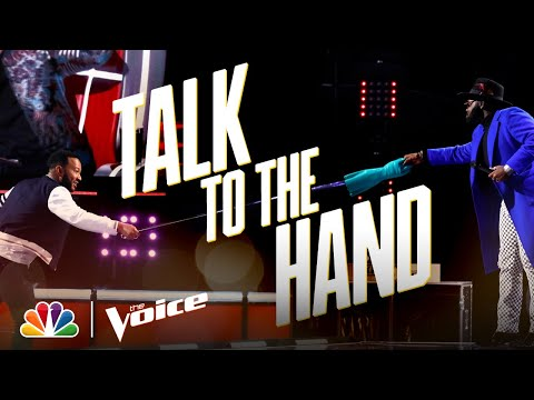 John Legend Doesn't Like Using His Ridiculous Hand on a Stick - The Voice 2020