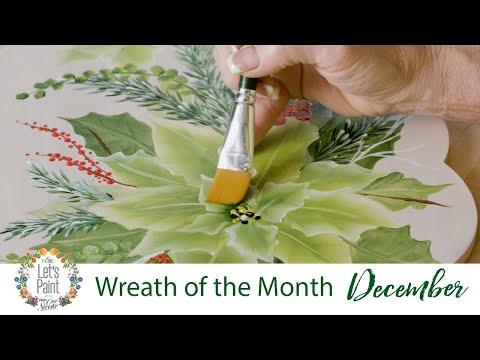 Let's Paint - Donna Dewberry Wreath of the Month - December Winter Splendor Poinsettias
