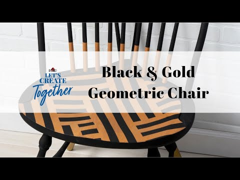 Black & Gold Geometric Painted Chair