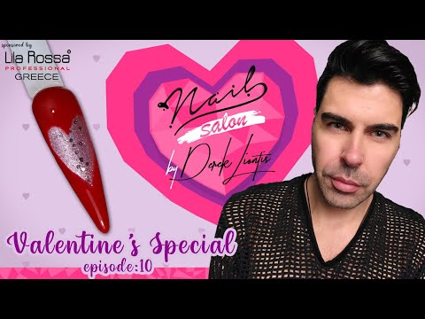 Valentine's Special Nail Art 💕 Nail Salon by Derek Liontis 💘 3D Murano Glass Effect Hearts ❣ E10