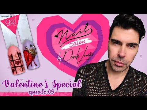 Valentine's Special Nail Art 💕 Nail Salon by Derek Liontis 💘 Queen's Bloody Heart & tic tac toe❣ E03