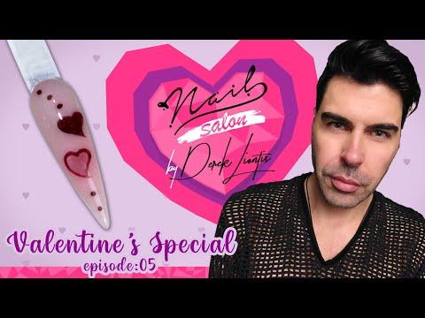 Valentine's Special Nail Art 💕 Nail Salon by Derek Liontis 💘 Acrygel Engraving Inner Hearts ❣ E05