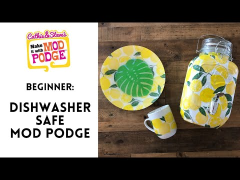 Dishwasher Safe Mod Podge Lemon and Leaf Plates