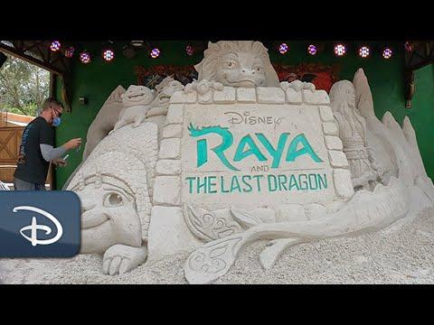 "Making of ""Raya and the Last Dragon"" Sand Sculpture | Disney's Animal Kingdom"