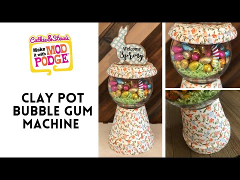 Spring Décor Clay Pot Gumball Machine Tutorial
