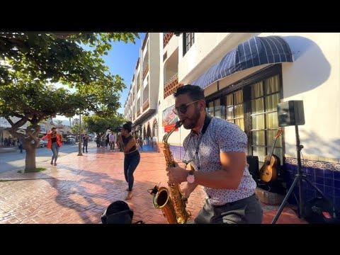 Bruno Mars - Leave The door Open (Samuel Solis - Saxophone cover) Street Performance Music And Dance