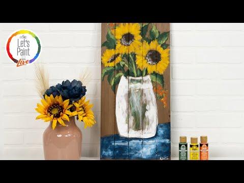 Let's Paint Live Painting Tutorial - Cottage Sunflowers