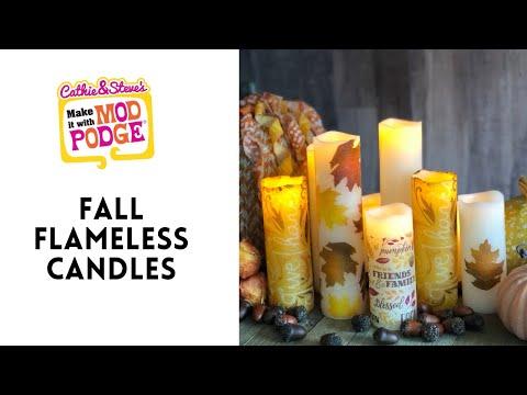 Napkin Decoupage Fall Candle Centerpieces